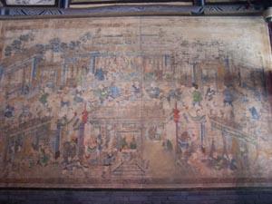De 'geschiedenis' schilderingen binnen in de tempel
